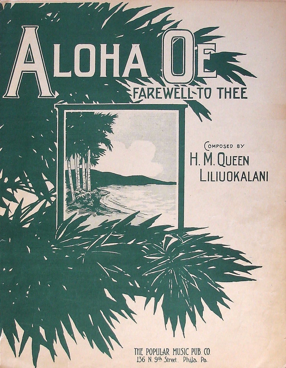Aloha Oe (Farewell to Thee) - H. M. Queen Liliuokalani - Arthur Lange - Large Format