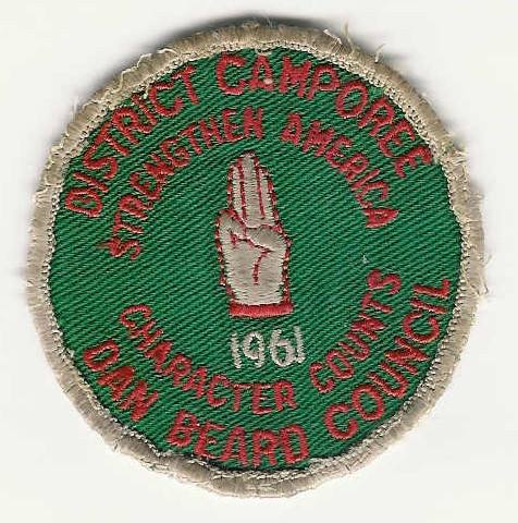 1961 District Camporee - Dan Beard Council - Strengthen America - Character Counts